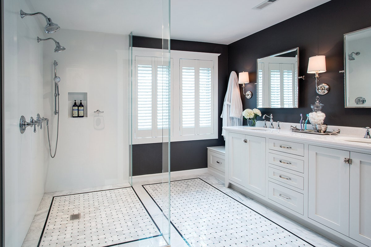 Open spaced bathroom with glass walk in shower