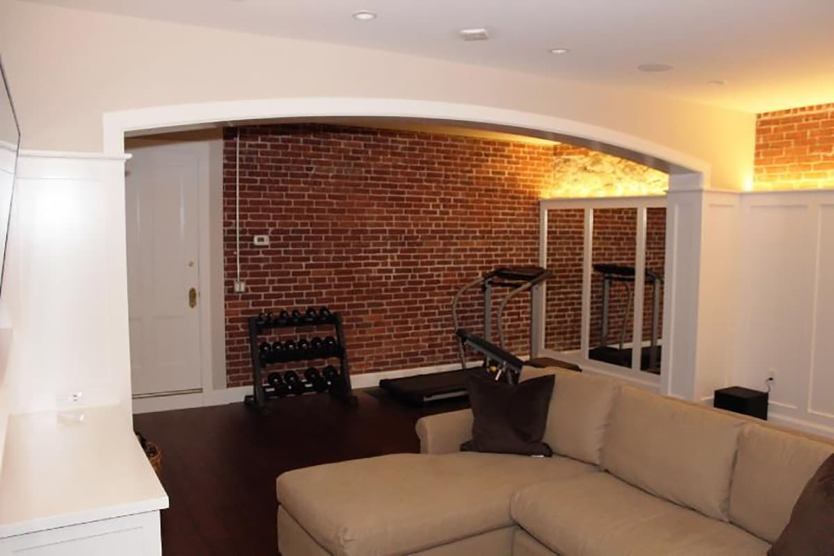 Gohh Finished Basement Couch & Archway