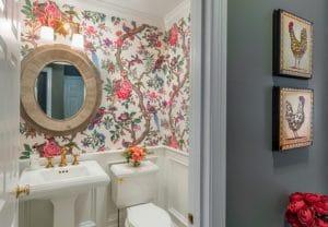 Floral print wallpaper half bath remodel East Greenwich RI