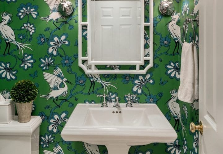 East Greenwich RI bathroom wallpaper renovation