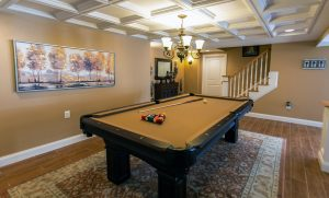 a game room in a basement remodel in rhode island