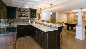 basement remodeling in rhode island with a wet bar