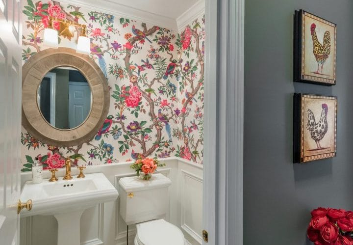 Floral print wallpaper half bath remodel East Greenwich RI