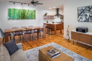 contemporary open concept living room and dining room and kitchen on the east side of providence rhode island